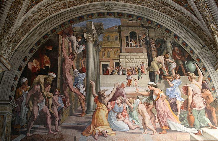 L'incendie du bourg par Raphaël, réalisée de 1514 à 1517. Palais du Vatican