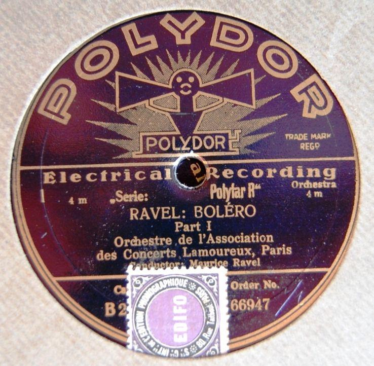 Premier enregistrement du Boléro par l'Association des Concerts Lamoureux, 1930