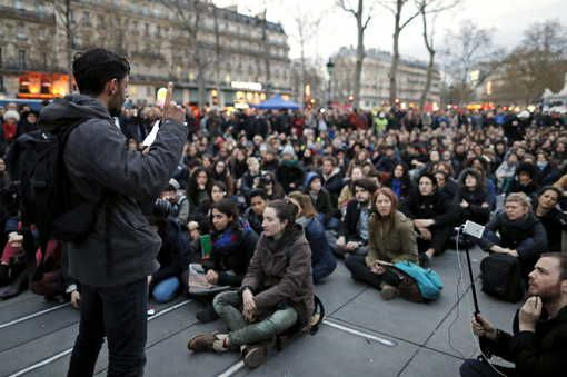 "Le mouvement ""Nuit debout"" à Paris, Place de la République, 11 avril 2016"