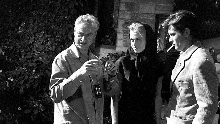 René Clément en 1963 avec Alain Delon et Jane Fonda.