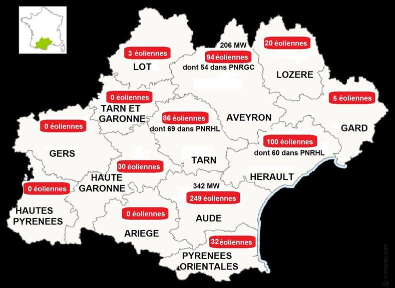 La répartition des éoliennes dans la région Occitanie. - Aucun(e)