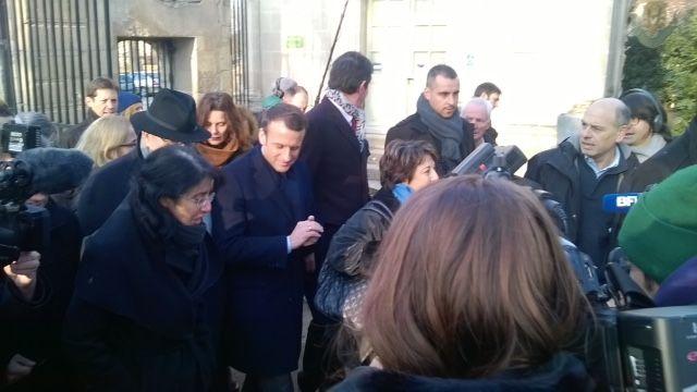 Emmanuel Macron avec Corine Lepage - Radio France
