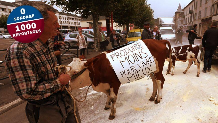 Lors des dernières manifestations à Vesoul, les agriculteurs avaient répandu de la poudre de lait sur la route.