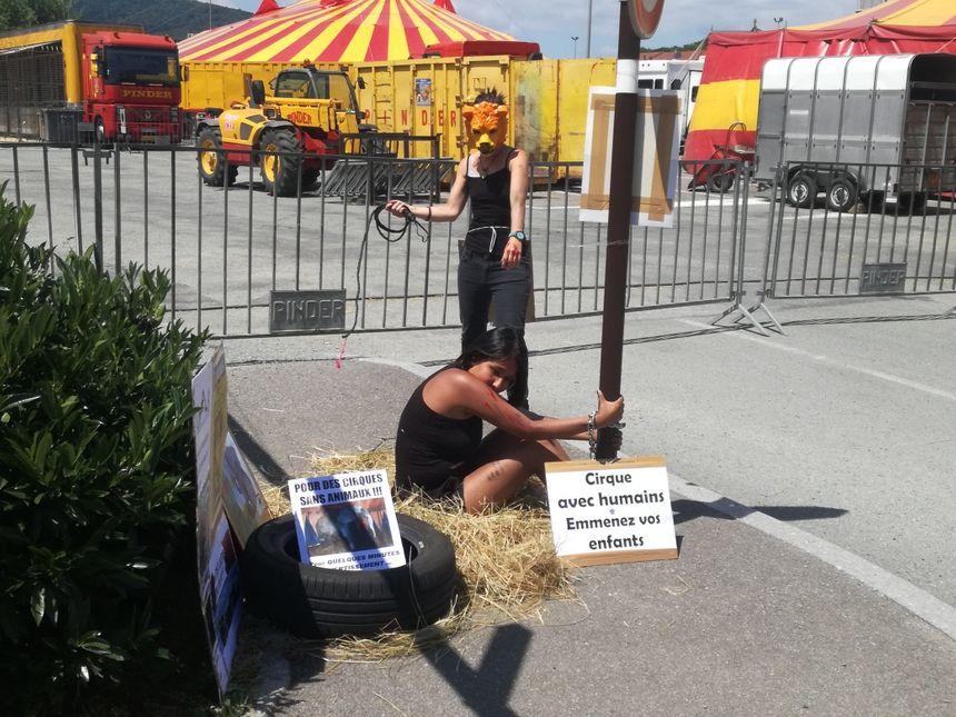 Les militants de l'Association Défense Animale Belfort se mettent en scène pour sensibiliser le public - Radio France