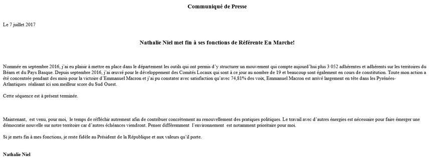Communiqué de presse envoyé par Nathalie Niel - Aucun(e)