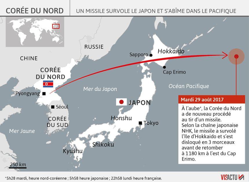 La trajectoire du tir de missile Nord Coréen - Visactu