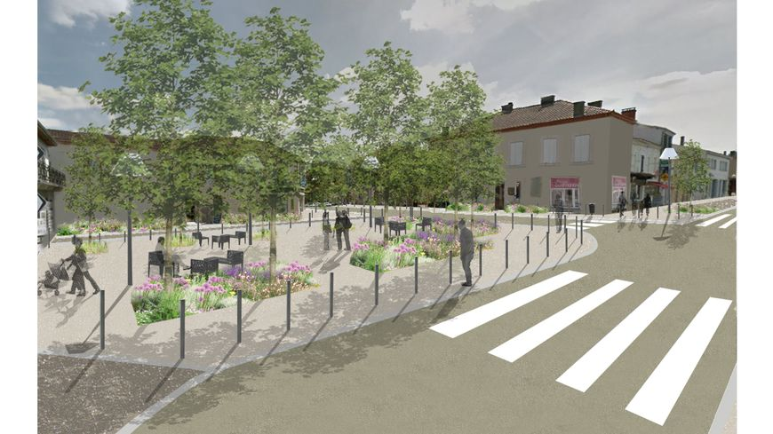 Photomontage pour la requalification de la Place de la Liberté à Villeneuve-de-Marsan