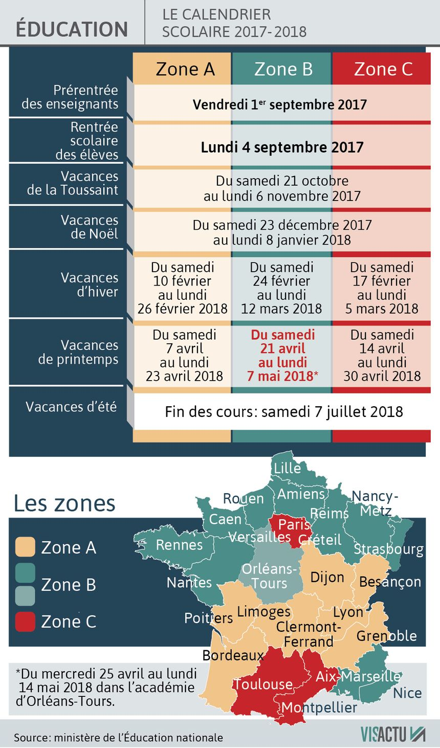 calendrier scolaire orleans